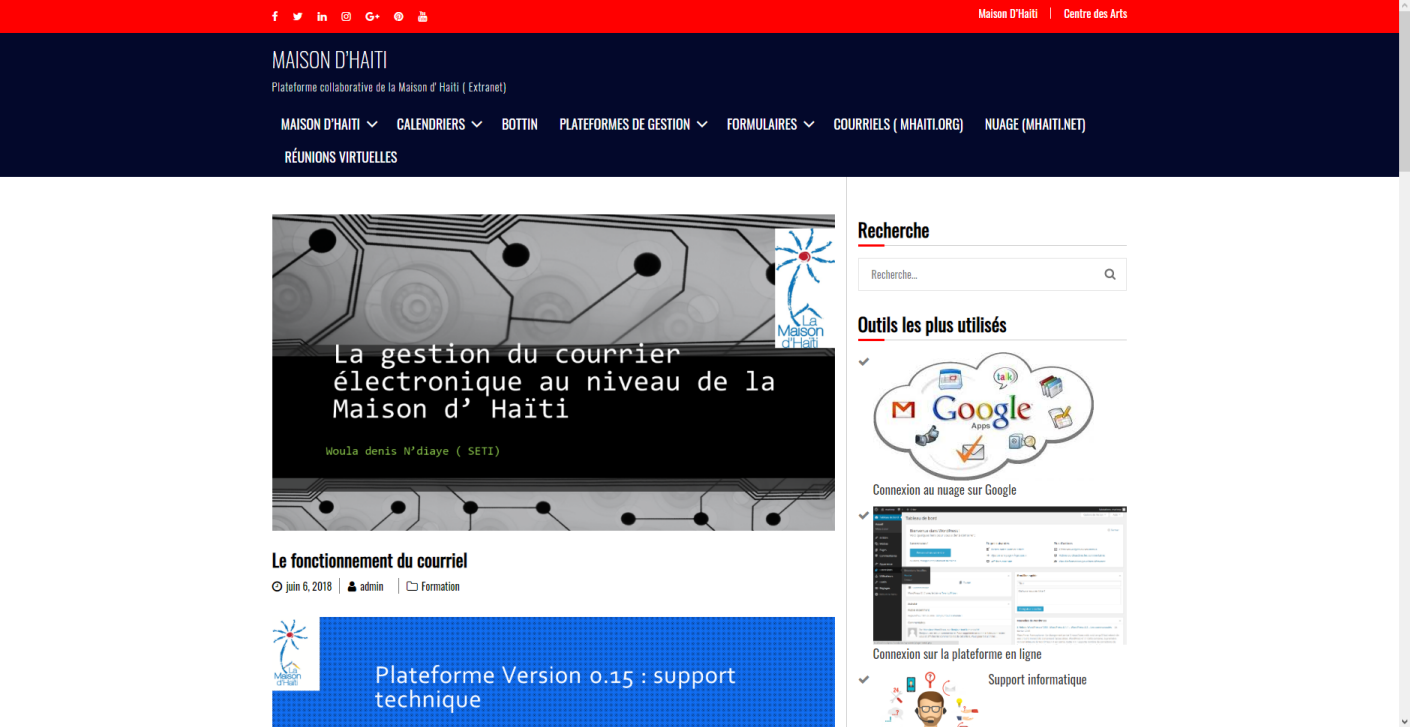 La version 0.2  de l' extranet mhaiti.net